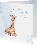 Geboortekaartje giraf hartjes blauw waterverf