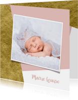 Geboortekaartje goud aanpasbare achtergrondkleur