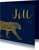 Geboortekaartje goudlook leopard aanpasbare kleur