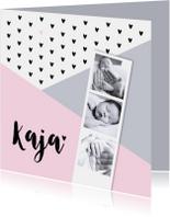 Geboortekaartje grafisch hartjes fotostrip roze