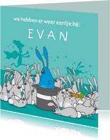 Geboortekaartje grappig met konijntjes blauw