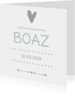 Geboortekaartje groen hart Boaz