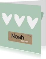 Geboortekaartje groen hartjes