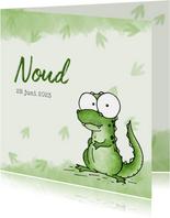 Geboortekaartje groen - Lieve kleine dinosaurus