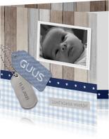 Geboortekaartje Guus hout labels