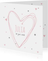 Geboortekaartje hart Julia