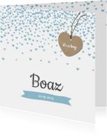 Geboortekaartje hartjes confetti