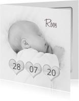 Geboortekaartje hartjes datum A