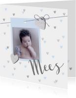 Geboortekaartje hartjes foto lichtblauw