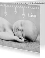 Geboortekaartje hartjes Lisa