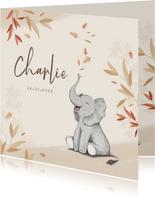 Geboortekaartje herfst olifant unisex blaadjes jongen meisje