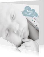 Geboortekaartje hip foto raket