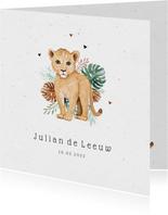 Geboortekaartje hip illustratie leeuw jungle unisex foto