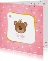Geboortekaartje hip kaartje met een lief beertje met strikje
