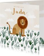 Geboortekaartje hip leeuw savanne illustratie