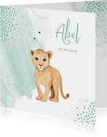 Geboortekaartje hip leeuw waterverf hartjes
