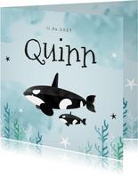 Geboortekaartje hip lief dieren orca zee ocean