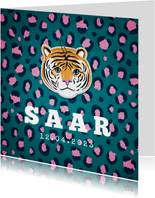 Geboortekaartje hip meisje panter tijger