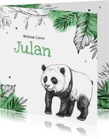 Geboortekaartje hip pandabeer jungle dieren unisex