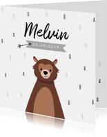 Geboortekaartje hip trendy beer pijltje bomen