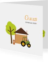 Geboortekaartje hooiberg met tractor