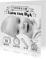 Geboortekaartje icoontjes handlettering zwartwit foto