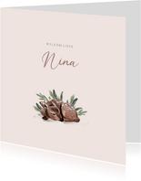 Geboortekaartje illustratie van hertje met roze achtergrond