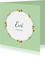 Geboortekaartje in mintgroen in elegante krans