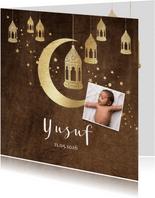 Geboortekaartje islamitisch goudlook lantaarns, maan velvet