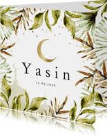 Geboortekaartje islamitisch jungle bladeren, maan, moskee