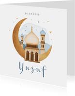 Geboortekaartje islamitisch moskee maan sterren hartjes