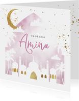Geboortekaartje islamitisch waterverf lila goudlook moskee
