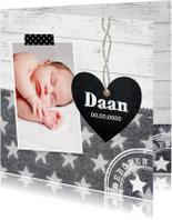 Geboortekaartje jongen foto hartje sterren