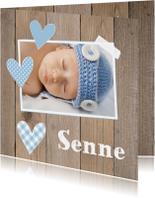 Geboortekaartje jongen foto hartjes hout