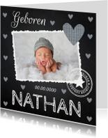 Geboortekaartje jongen foto hartjes krijtbord