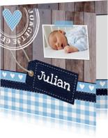 Geboortekaartje jongen foto label hout