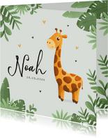 Geboortekaartje jongen giraf illustratie jungle hartjes