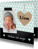 Geboortekaartje jongen hartje krijtbord