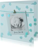 geboortekaartje jongen hartjes foto