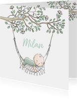 Geboortekaartje jongen in hangmat