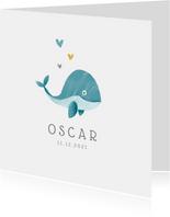 Geboortekaartje jongen lief met walvisje