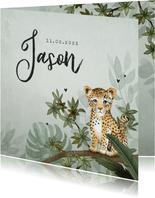 Geboortekaartje jongen luipaard botanisch groen jungle