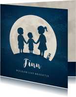 Geboortekaartje jongen Maan met silhouet van 3 kinderen