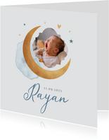 Geboortekaartje jongen maan sterren foto waterverf