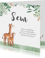 Geboortekaartje jongen met bladeren waterverf en  giraffe's