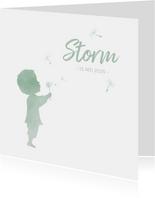 Geboortekaartje jongen met paardenbloem waterverf silhouet