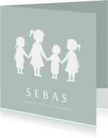 Geboortekaartje jongen met silhouet van 4 kinderen