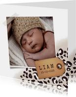 Geboortekaartje jongen met taupe panterprint en foto