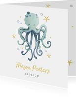 Geboortekaartje jongen octopus oceaan sterren hartjes