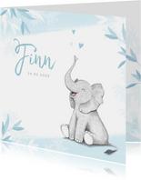 Geboortekaartje jongen olifant dieren blauw illustratie